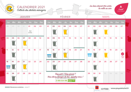 Télécharger le calendrier de collectes 2021 de Lunel Sud-Ouest