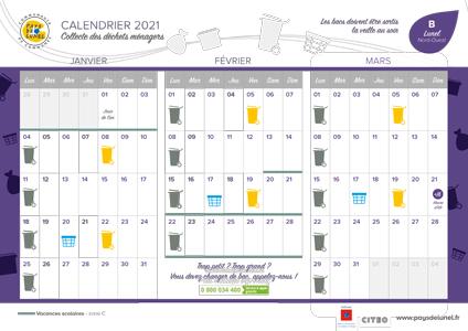 Télécharger le calendrier de collectes 2021 de Lunel Nord-Ouest