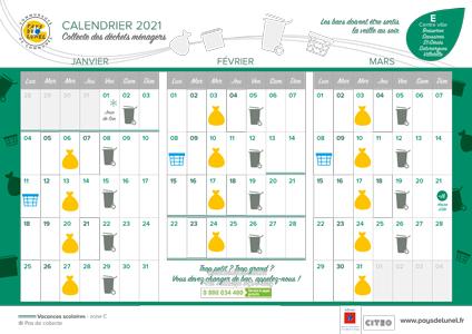 Télécharger le calendrier collectes des centre-villes, pour Boisseron, Saint-Sériès, Saturargues, Saussines et Villetelle
