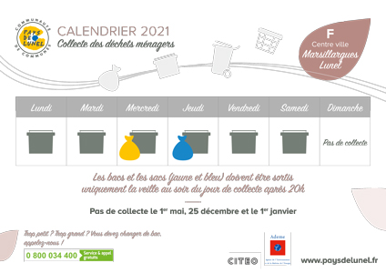 Calendrier de collectes 2021 - Télécharger le calendrier de collectes du centre-ville de Marsillargues