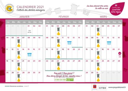 Télécharger le calendrier de collectes des centre-villes de Lunel-Viel et Entre-Vignes
