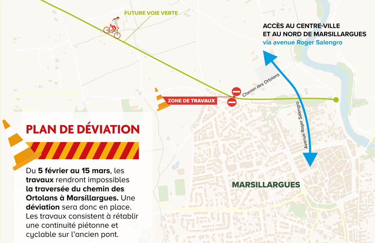 Plan de déviation du chemin des Ortolans à Marsillargues, du 5 février au 15 mars sur le Pays de Lunel
